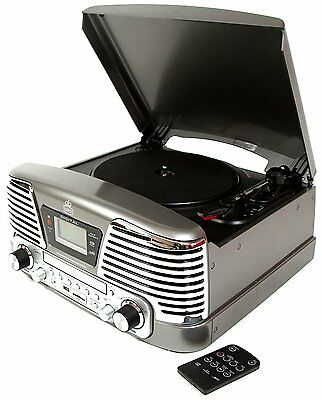 GPO Memphis Record Player Retro LP Turntable CD FM Radio MP3 USB Music Silver