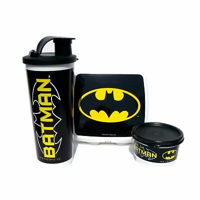 Tupperware NEW BATMAN Lunch Set Sandwich Keeper Tumbler Snack Cup Black White