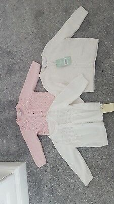 Set of 3 baby girls cardigans 3-6 months