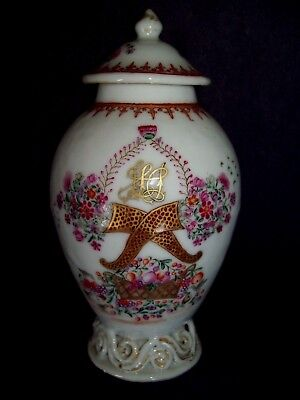 STUNNING FINEST CHINESE 18th C QIANLONG FAMILLE ROSE ARMORIAL TEA CADDY LID VASE