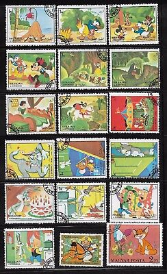 Cartoons Bugs Bunny Disney Mickey Mouse Dwarfs Lot 18 Stamps used Free Shipping