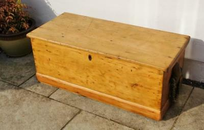 Victorian pine sea chest with good quality rope/leather Beckets - dated 1867