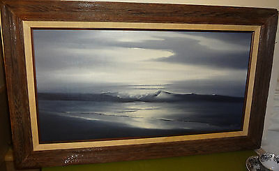HAWAII ARTIST Date 9-11-74 palette knife OIL PAINTING sgnd RON MIYAHIRA SEASCAPE