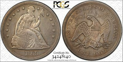 """*beautiful 1869 Seated Liberty Silver Dollar """"cleaned"""" Xf Details Pcgs*"""