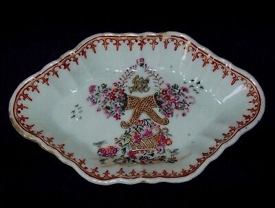 BEAUTIFUL FINEST CHINESE 18th C QIANLONG FAMILLE ROSE ARMORIAL SPOON REST DISH
