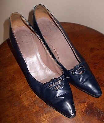 Vintage Bally? 1950's? Ladies High Heel Shoes.BLUE LEATHER.Excellent