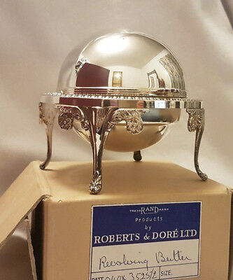 Silver Plated Domed Revolving Butter Dish With Glass Liner Roberts & Dore Ltd