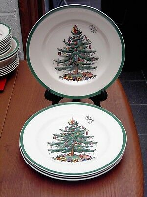 Spode Christmas Tree Dinner Plates X4 in Very Good Condition Free UK P&P