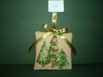 Finished Cross Stitch Christmas Ornament- 3 Christmas Trees-#26