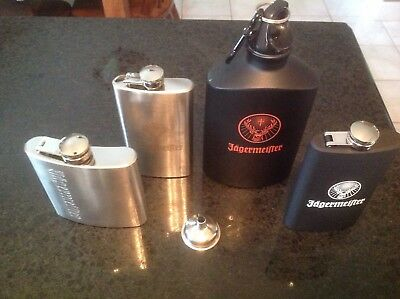 Jagermeister Flask lot of 4 Stainless Steel & black finish Flasks & a funnel