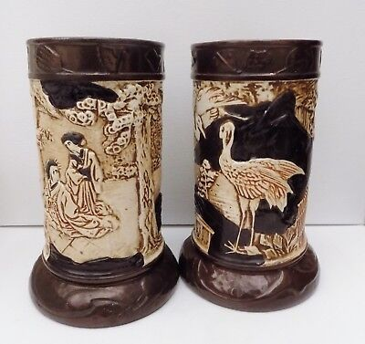 Pair Of Bretby Oriental & Crane Decorated Vases 1950's