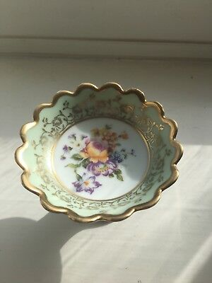 Small Limoges Porcelain Floral Dish with Gold Border