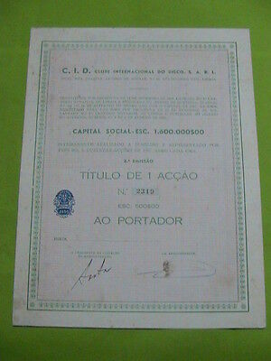 Disk Club International 1960 -  one share certified