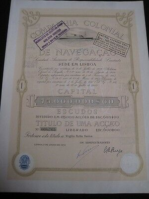 Colonial Navigation Company - One share certified 1951