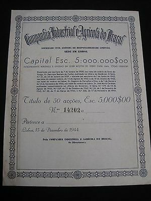 Company Industry and Agricultural Braçal - fifty  shares certified 1944