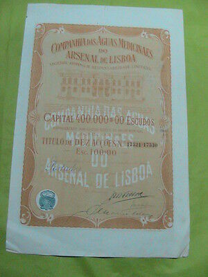 Company of Medicinal Waters Arsenal Lisbon -ten share certified 1920