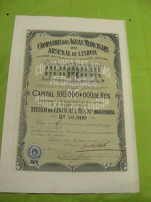 Company of Medicinal Waters Arsenal Lisbon - five share certified 1907
