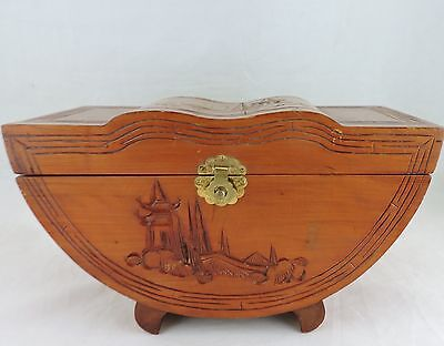 Vintage Chinese Wooden Trinket Jewelry Box W/mirror,carved,footed,unique Shape