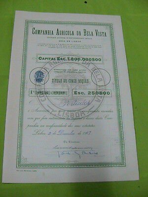 Agricultural Company of Bela Vista 1947 - five share certified