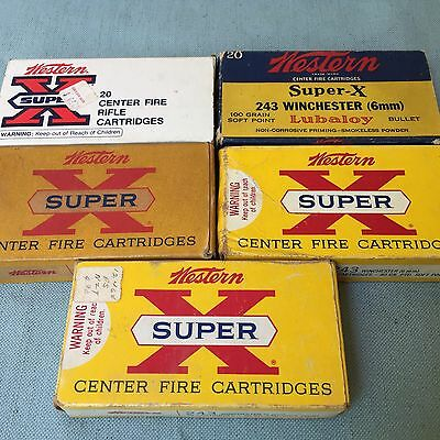 Vintage 5 Rifle Shell Cartridges Boxes Western Super-X Lubaloy 243 Winchester