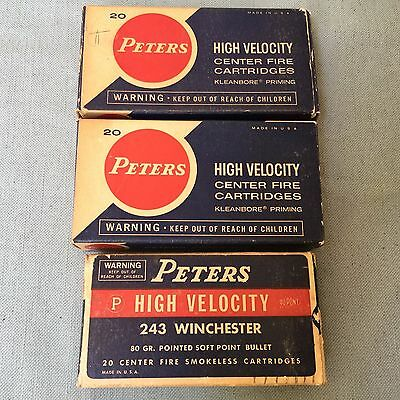 Vintage Lot 3 Rifle Shell Cartridges Boxes Peters High Velocity 243 Winchester
