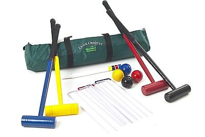 Lawn Croquet Set - 4 Player Set with 77 Centimetre Long Mallets in a Strong Bag