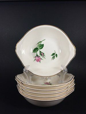 Paden City Pottery Moss Rose Lugged Cereal Bowls Set of 6