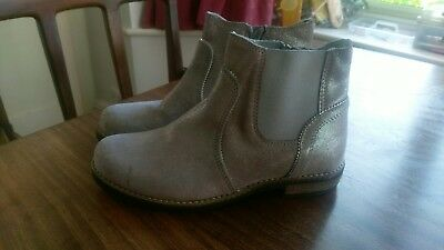 m&s girls ankle boots - silver - size 3