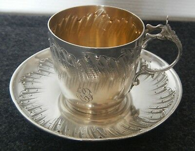 Antique French sterling silver cup & saucer Henri Soufflot Rococo circa 1884