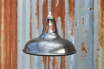 Vintage antique zinc ceiling light vented lamp shade factory industrial zcsr4