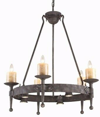 Old World Tuscan Cambridge Candle Chandelier Forged Iron & Stone Farmhouse