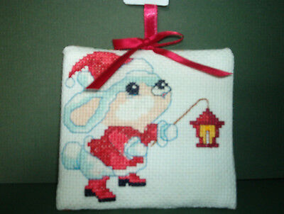 Finished Cross Stitch Christmas Ornament-  Christmas Mouse with Lantern # 65