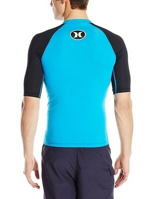 Hurley Men's Icon Rash Guard Medium NWT Cyan UPF 50+ Short Sleeves Tight Fit M