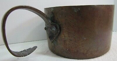Antique Copper Pot unusual Rat Tail Heart Shape Handle heavy  old pot