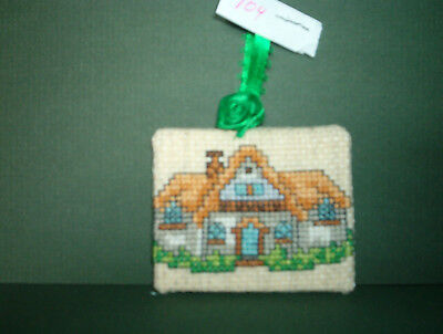 Finished Cross Stitch Christmas Ornament-  House with Thatched Roof #104