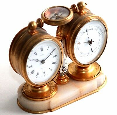 Clock, Barometer termometer and Compass from 19th century.