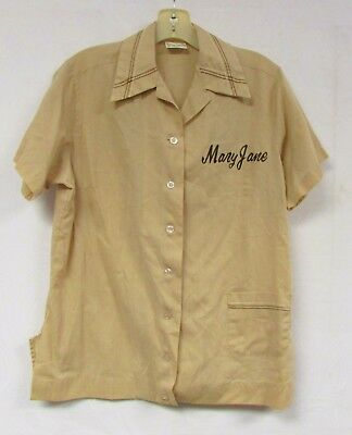Vintage 70s Bowling Shirt Mary Jane King Louie Rockabilly Pin Up Costume
