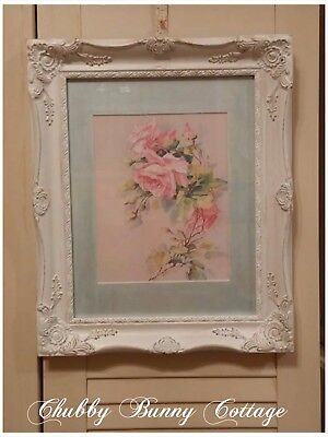 Shabby romantic cottage chic Rose print with pink cascading roses baroque frame