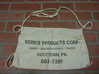 Old BERKS Prod Co Kutztown Pa Cloth Tool Apron Lumber Building Materials Trusses