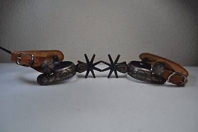 Pair Of Antique Mexican Spurs With Silver Inlay - Western Spurs - Cowboy Spurs