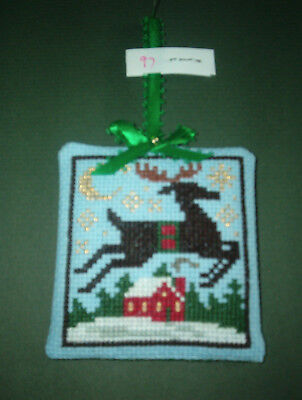 Finished Cross Stitch Christmas Ornament- Prarie Schooler Deer over House # 97