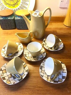 Midwinter Fashion Style Homespun By Jessie Tait Coffee Set Vgc