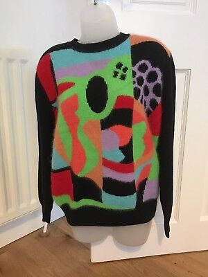 Ladies original Betty Barclay 1980's  retro vintage geomteric jumper size 12-14
