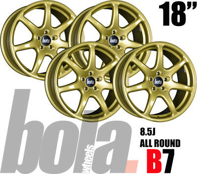 """18"""" BOLA B7 GOLD 5 STUD 8.5J SET OF 4 NEW ALLOY WHEELS FOR Volvo C70 CC 06-11"""