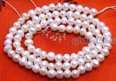 """SALE small 4-5mm AA white Natural Freshwater round  Pearl Loose Bead 14""""-los636"""