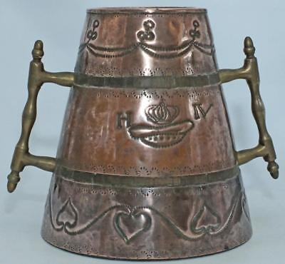 STUNNING HUGE NORWEGIAN SCANDINAVIAN FOLK ART COOPERED COPPER LOVING CUP c1900