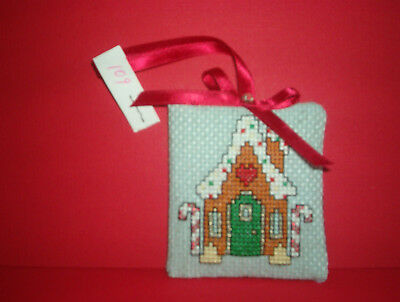 Finished Cross Stitch Christmas Ornament-  Gingerbread House on Blue #109