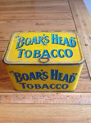 Very Rare Large Tobacco Counter Top Boars Head Tin Vintage. Superb Display Prop.