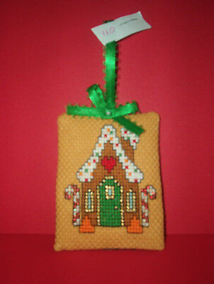 Finished Cross Stitch Christmas Ornament-  Gingerbread House on Tan #110