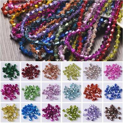 200/100/50pcs 3mm/4mm/6mm Metal Bicone Faceted Crystal Glass Loose Spacer Beads